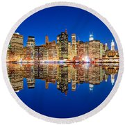 Round Beach Towel featuring the photograph Manhattan by Luciano Mortula