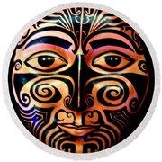 Maori Mask Round Beach Towel