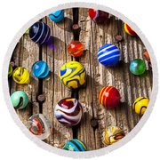 Marbles On Wooden Board Round Beach Towel