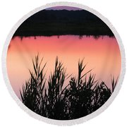 Round Beach Towel featuring the photograph Marsh Sunset by Clara Sue Beym