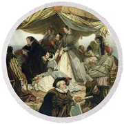 Mary Stuart's Farewell To France Round Beach Towel by Henry Nelson O Neil