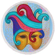 Mask With  Head Dress Round Beach Towel