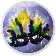 Round Beach Towel featuring the painting Masque Over Bourbon Street by Alys Caviness-Gober