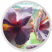 Mauve Hibiscus And Amethyst Round Beach Towel