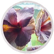 Round Beach Towel featuring the photograph Mauve Hibiscus And Amethyst by Dianne  Connolly