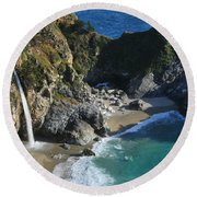 Round Beach Towel featuring the photograph Mcway Falls by Lynn Bauer