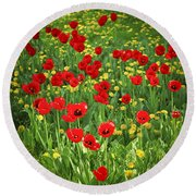 Meadow With Tulips Round Beach Towel