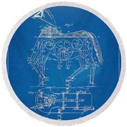Mechanical Horse Toy Patent Artwork 1893 Round Beach Towel