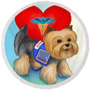 Medical Alert Yorkie Round Beach Towel