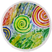 Round Beach Towel featuring the painting Meditation by Sonali Gangane