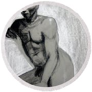 Round Beach Towel featuring the drawing Meditations by Gabrielle Wilson-Sealy