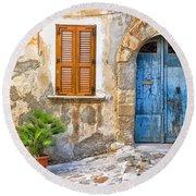 Mediterranean Door Window And Vase Round Beach Towel