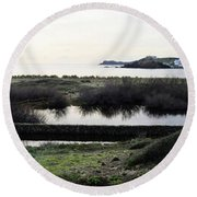 Round Beach Towel featuring the photograph Mediterranean View by Pedro Cardona