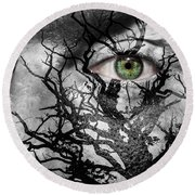 Medusa Tree Round Beach Towel by Semmick Photo