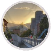 Meeting Bridges Round Beach Towel