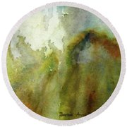 Round Beach Towel featuring the painting Melting Mountain by Anna Ruzsan
