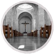 Round Beach Towel featuring the photograph Merida Mexico Cathedral Interior Color Splash Black And White by Shawn O'Brien