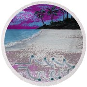Merry Beachy Christmas Round Beach Towel
