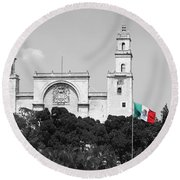 Round Beach Towel featuring the photograph Mexico Flag On Merida Cathedral San Ildefonso Town Square Color Splash Black And White by Shawn O'Brien