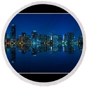 Miami Skyline Night Panorama Round Beach Towel by Carsten Reisinger