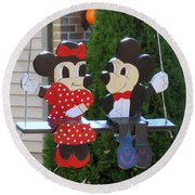 Mickey And Minnie Mouse Round Beach Towel