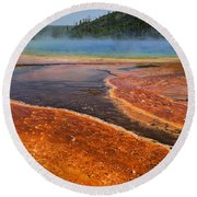 Middle Hot Springs Yellowstone Round Beach Towel