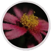 Round Beach Towel featuring the digital art Midnight Bloom by Lauren Radke