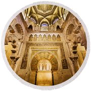 Mihrab And Ceiling Of Mezquita In Cordoba Round Beach Towel