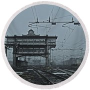 Round Beach Towel featuring the photograph Milan Central Station Italy In The Fog by Andy Prendy