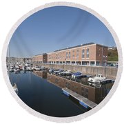 Round Beach Towel featuring the photograph Milford Haven Marina 2 by Steve Purnell