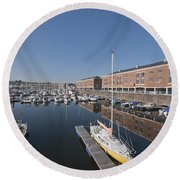 Round Beach Towel featuring the photograph Milford Haven Marina 3 by Steve Purnell