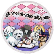 Miracles With Paws Round Beach Towel
