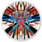 Round Beach Towel featuring the digital art Mirror Image Abstract by Phil Perkins