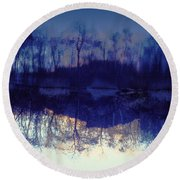 Mirror Pond In The Berkshires Round Beach Towel