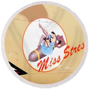 Miss Stress Round Beach Towel by David Lee Thompson