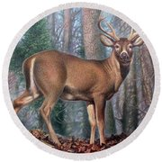 Missouri Whitetail Deer Round Beach Towel
