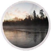 Mist Over The Mississippi Round Beach Towel by Kent Lorentzen
