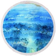 Round Beach Towel featuring the painting Misty Morning  Ireland  by Trudi Doyle