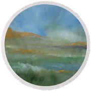 Round Beach Towel featuring the painting Misty Morning by Judith Rhue