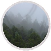 Misty Mountain Morning Round Beach Towel