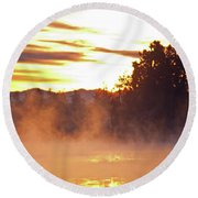 Round Beach Towel featuring the photograph Misty Sunrise by Tikvah's Hope