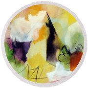 Modern Art With Yellow Black Red And Fanciful Clouds Round Beach Towel