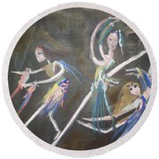 Round Beach Towel featuring the painting Modern Ballet by Judith Desrosiers