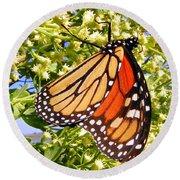 Monarch An Wildflowers Round Beach Towel