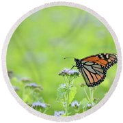 Monarch And Mist Round Beach Towel