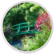 Monet's Garden Round Beach Towel by Diana Haronis