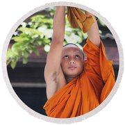 Round Beach Towel featuring the photograph Monk In The Bell Tower #2 by Nola Lee Kelsey