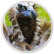 Monk Vulture 4 Round Beach Towel