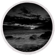 Monochrome Sunset  Round Beach Towel