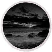 Monochrome Sunset  Round Beach Towel by Beverly Cash